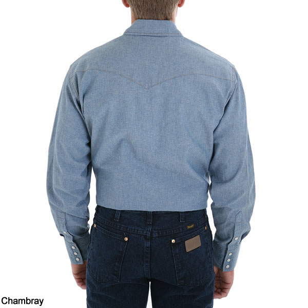 Wrangler Cowboy Cut® Work Western Indigo Chambray Long Sleeve Shirt Chambray 70136MW