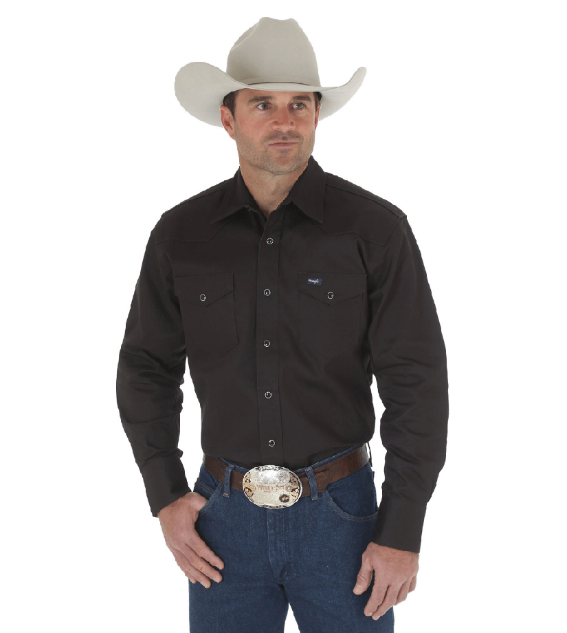Wrangler Cowboy Cut® Firm Finish Long Sleeve Western Snap Solid Work Shirt Black MS70819