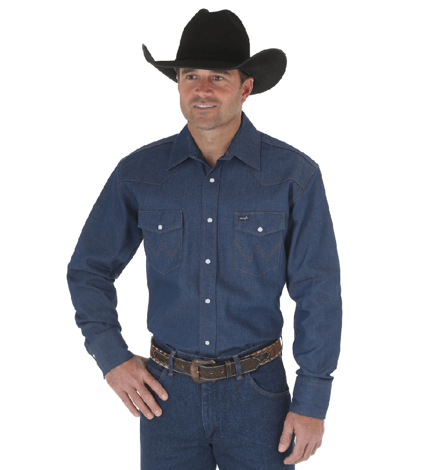 Wrangler Cowboy Cut Western Two Pocket Long Sleeve Snap Workshirt Blue MS70119