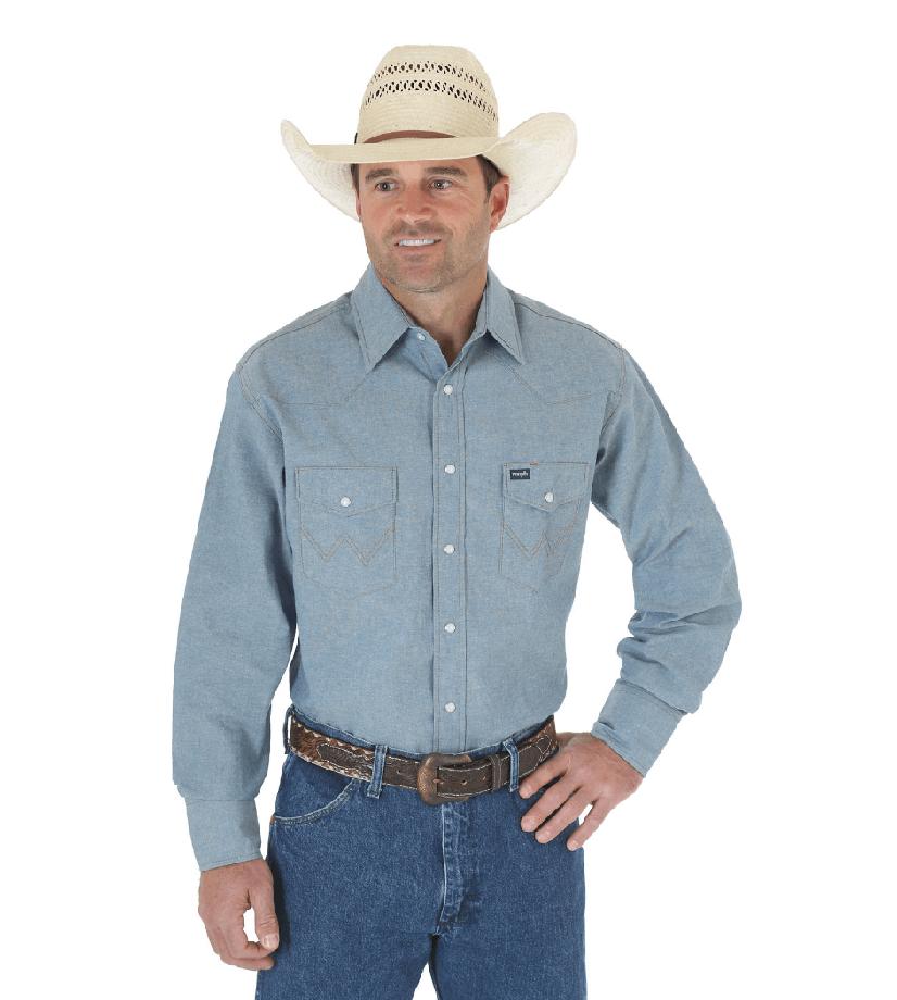 Wrangler Cowboy Cut Western Two Pocket Long Sleeve Snap Workshirt Chambray Blue MS70919