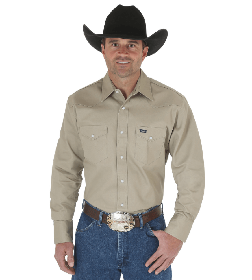 Wrangler Cowboy Cut Western Two Pocket Long Sleeve Snap Workshirt Khaki MS70319