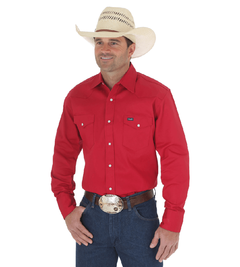 Wrangler Cowboy Cut Western Two Pocket Long Sleeve Snap Workshirt Red MS70619