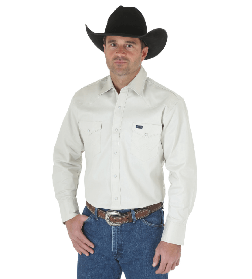 Wrangler Cowboy Cut Western Two Pocket Long Sleeve Snap Workshirt Stone MS71319