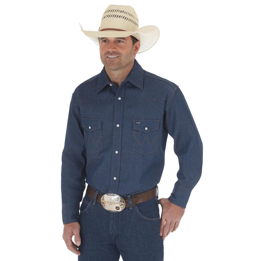 Wrangler Cowboy Cut® Work Western Rigid Denim Long Sleeve Shirt Rigid Indigo 70127MW