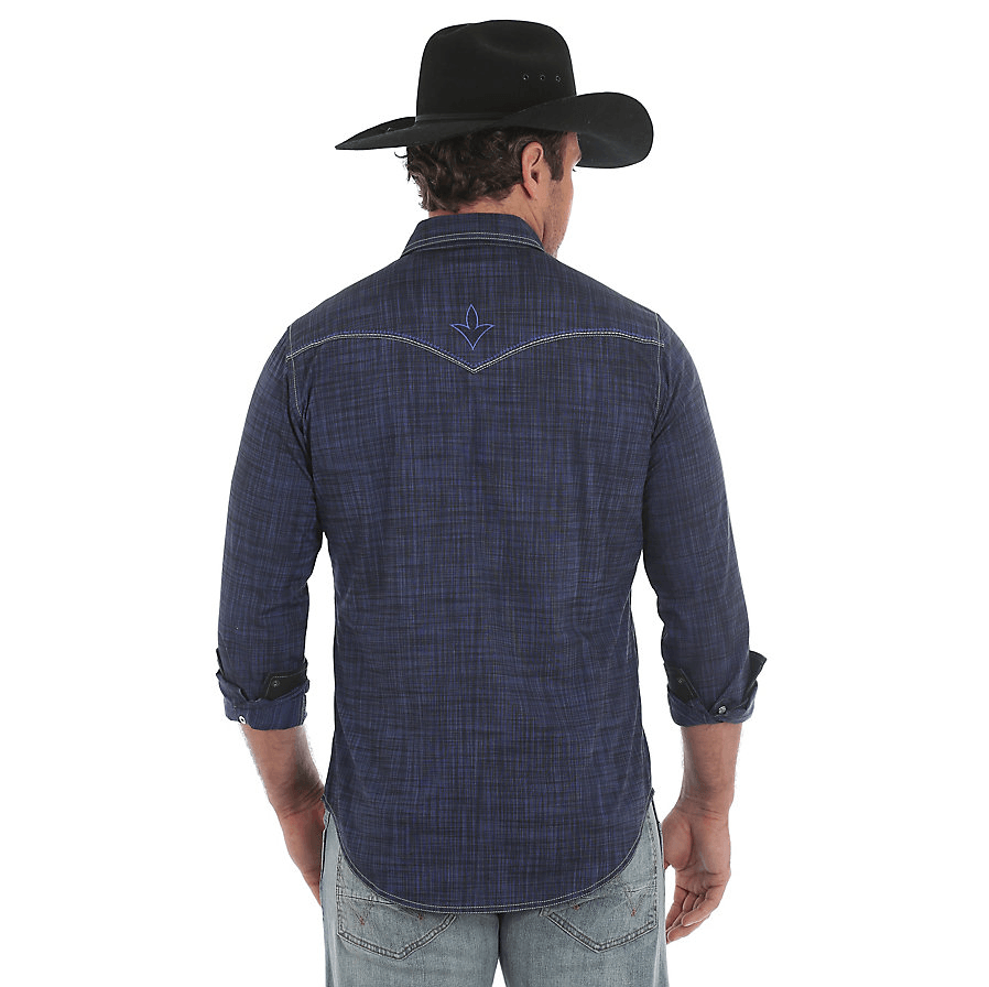 Rock 47® by Wrangler® Vintage Embroidered Snap Long Sleeve Shirt Blue/Black MRC348N
