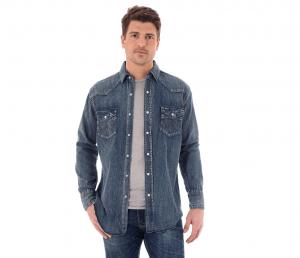 Wrangler® Cowboy Cut® Long Sleeve Western Snap Indigo Slub Denim Shirt MS1039W