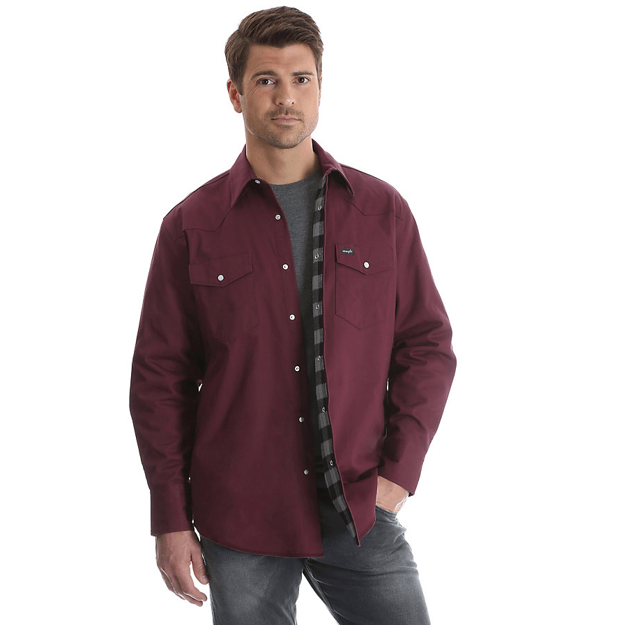 Wrangler® Cowboy Cut® Western Snap Flannel Lined Solid Work Shirt Red Oxide MS7202R