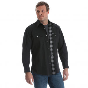 Wrangler® Cowboy Cut® Western Snap Flannel Lined Solid Work Shirt Black/Grey MS7203X